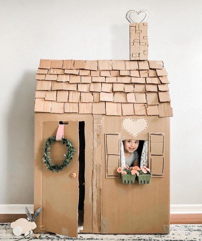 Cardboard kids playhouse