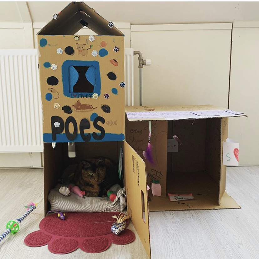 kids cardboard playhouse