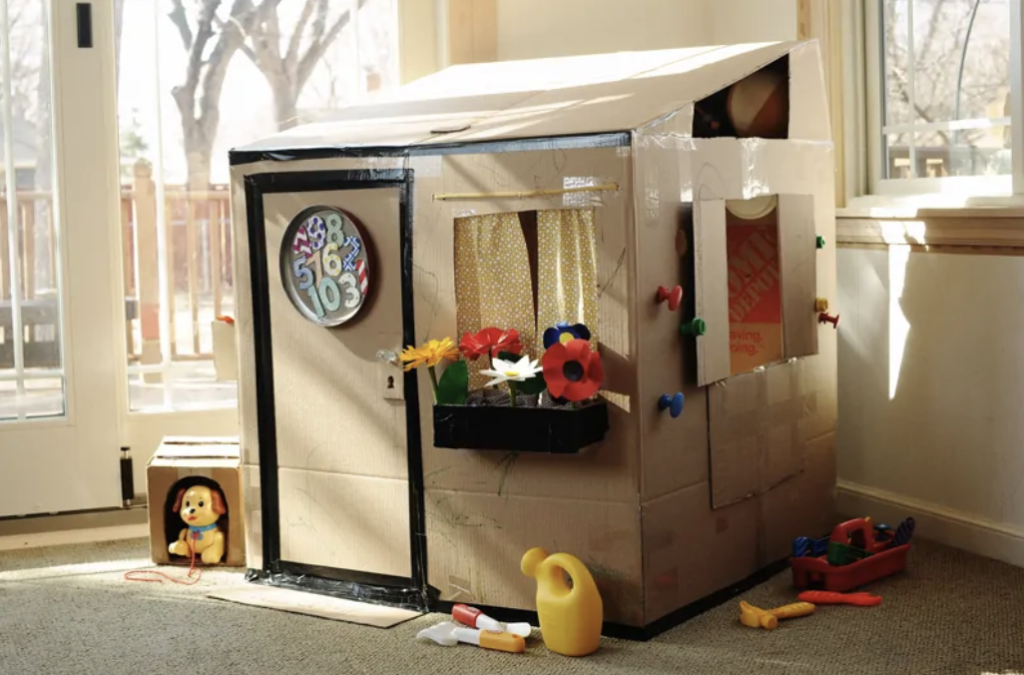 kids cardboard playhouse diy