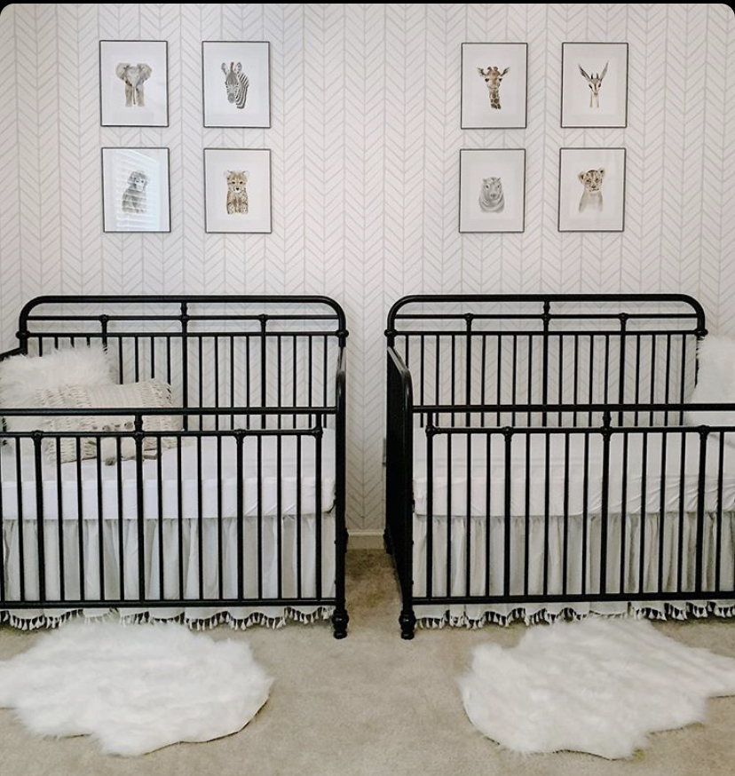 Coastal farmhouse twins nursery decor.